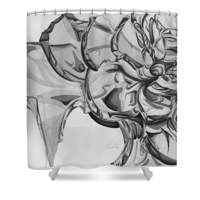 Rose Shower Curtain featuring the painting The Glass Rose by Morgan Banks