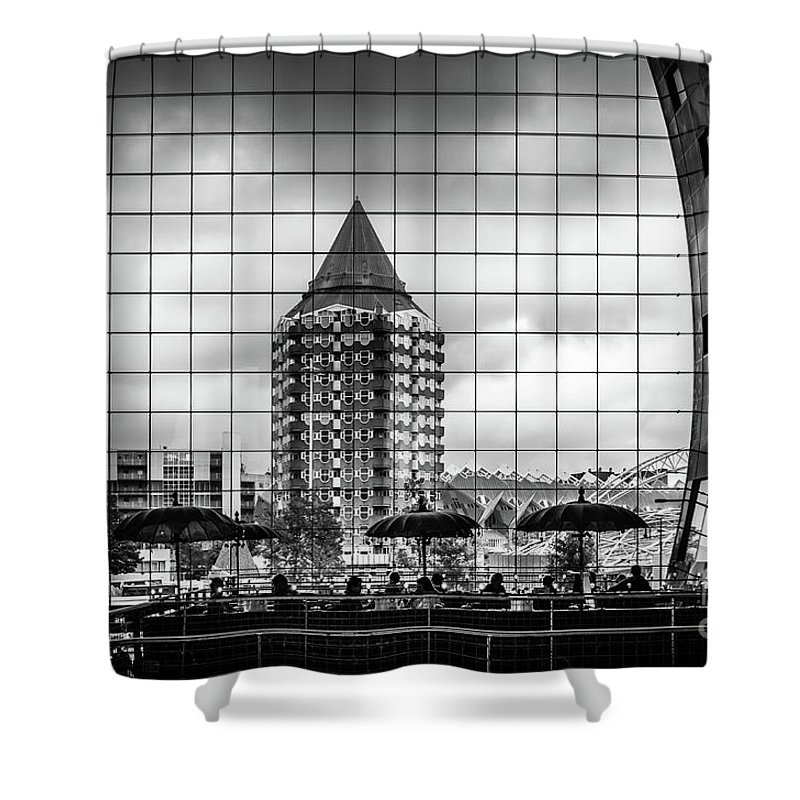 Rotterdam Shower Curtain featuring the photograph The Glass Windows Of The Market Hall In Rotterdam by RicardMN Photography