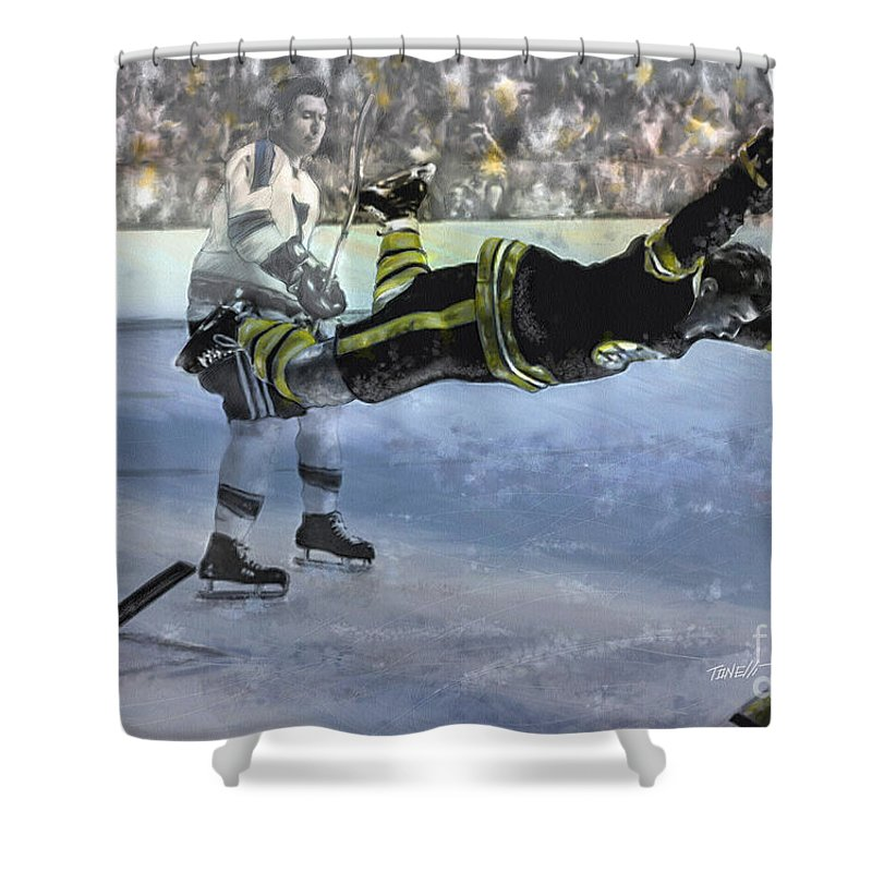 Hockey Shower Curtain featuring the mixed media The Goal Bobby Orr Art by Mark Tonelli