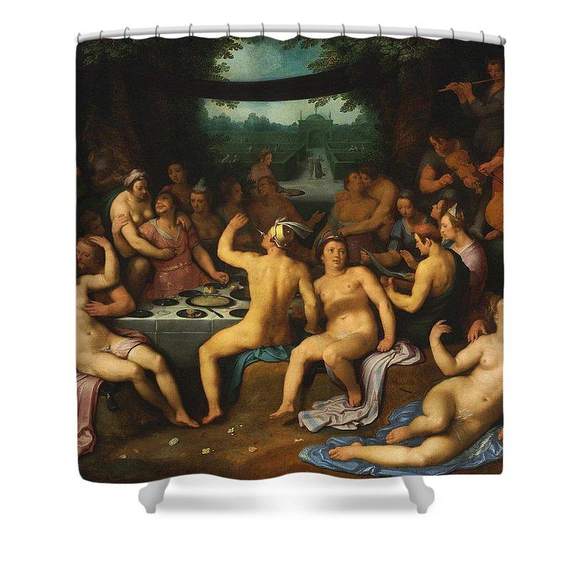 Adam Shower Curtain featuring the painting The Golden Age Bacchanal Or The Garden Of Love 1614 by Cornelis Cornelisz Van Haarlem