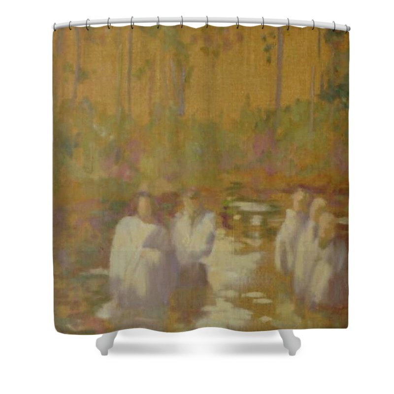 Narrative Shower Curtain featuring the painting The Golden Baptism by Barbara Harrison
