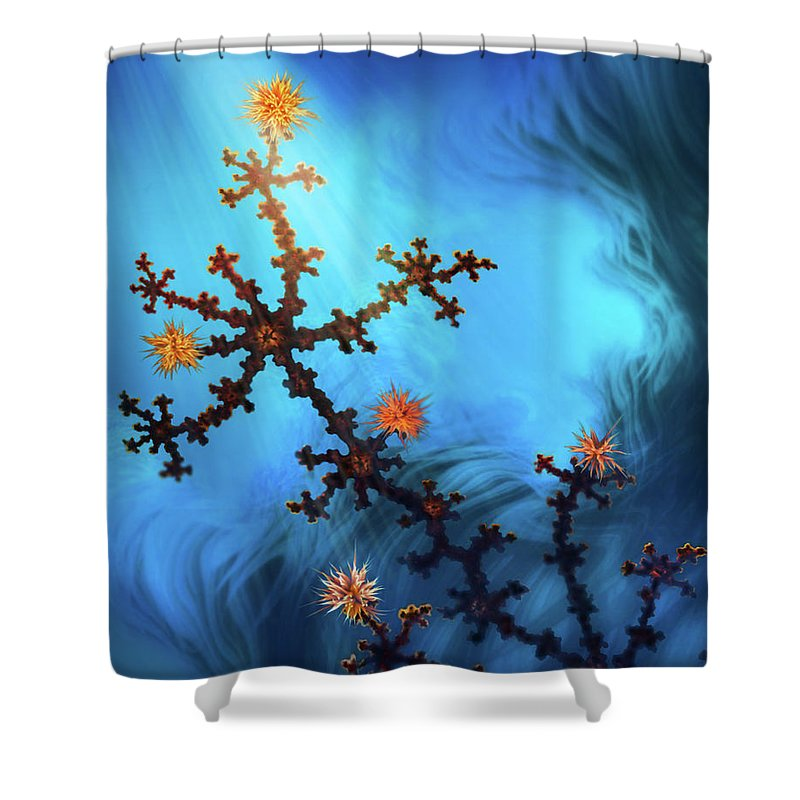 Shower Curtain featuring the mixed media The Golden Bough by Steven Marcus