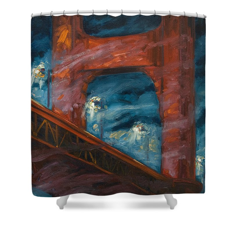 Bridge Shower Curtain featuring the painting The Golden Gate by Rick Nederlof