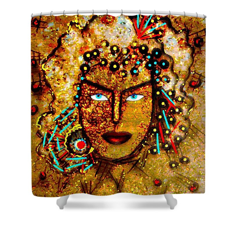 Goddess Shower Curtain featuring the painting The Golden Goddess by Natalie Holland