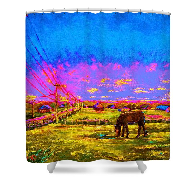 Western Art Shower Curtain featuring the painting The Golden Meadow by Carole Spandau