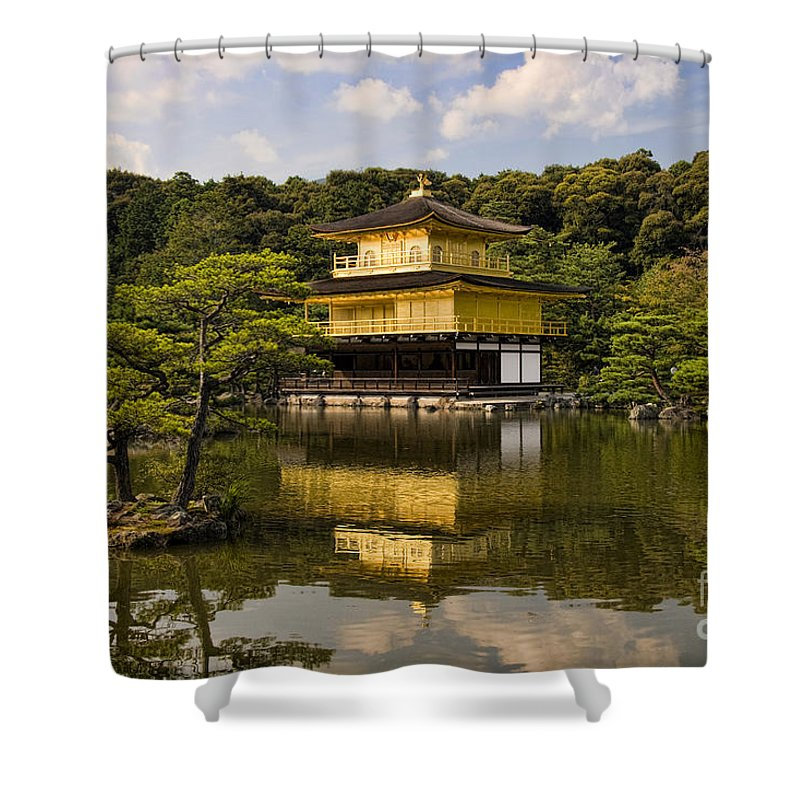 Colour Shower Curtain featuring the photograph The Golden Pagoda in Kyoto Japan by David Smith