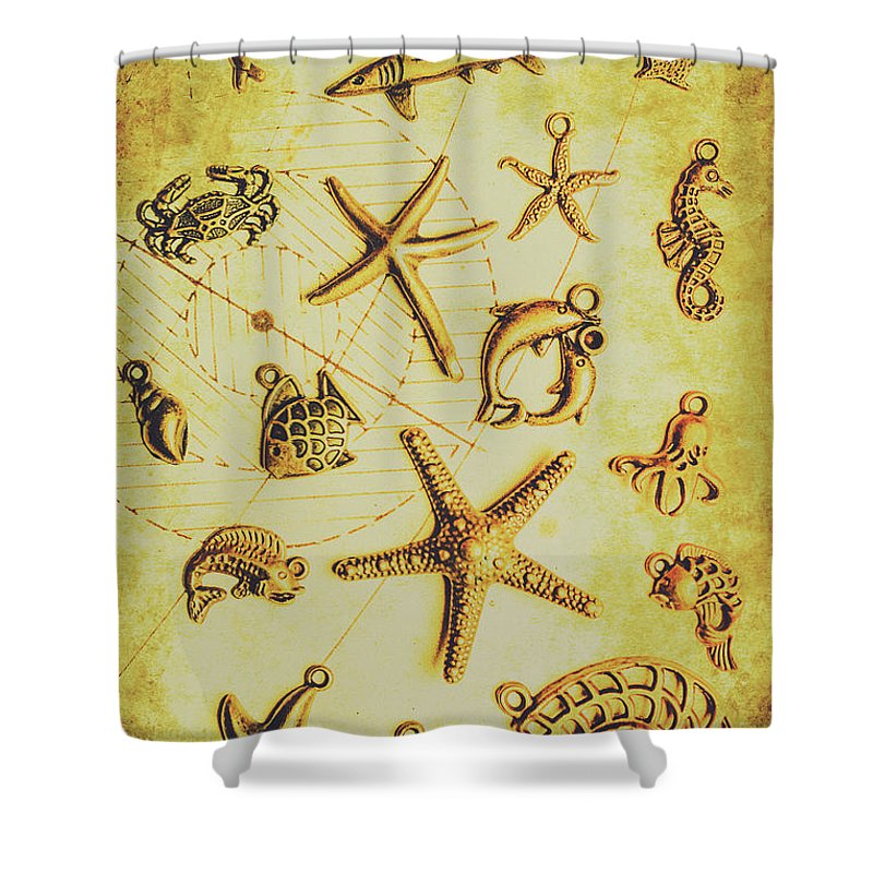 Seaside Shower Curtain featuring the photograph The Golden Sea Parchment by Jorgo Photography - Wall Art Gallery