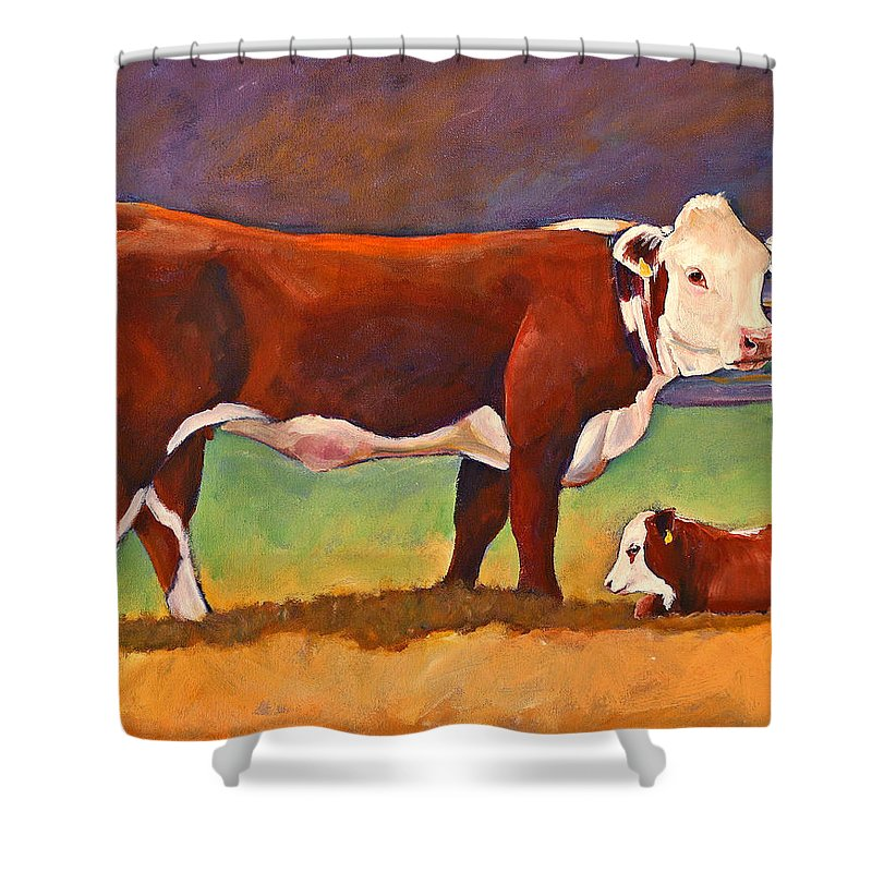 Folk Art Shower Curtain featuring the painting The Good Mom Folk Art Hereford Cow And Calf by Toni Grote