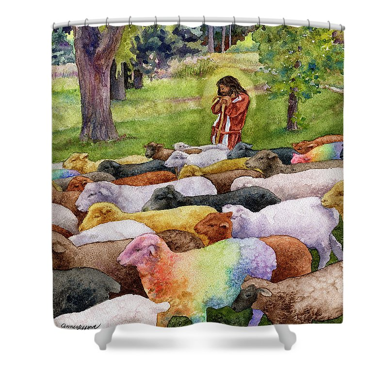 Jesus Painting Shower Curtain featuring the painting The Good Shepherd by Anne Gifford