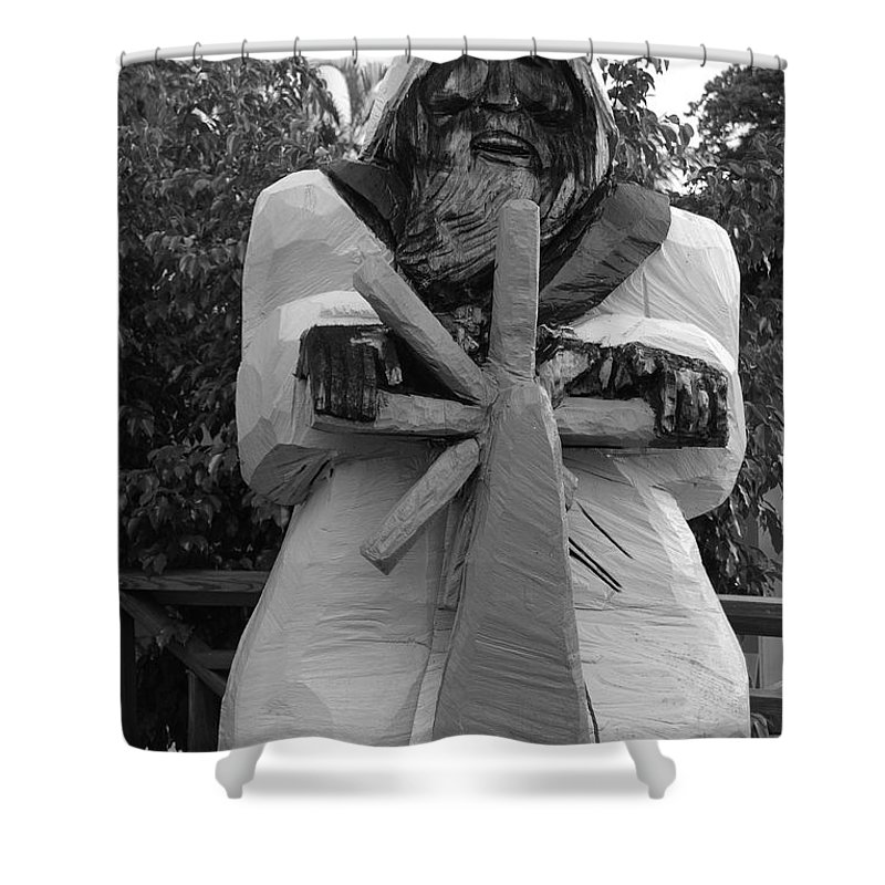 Black And White Shower Curtain featuring the photograph The Gordon Fisherman by Rob Hans