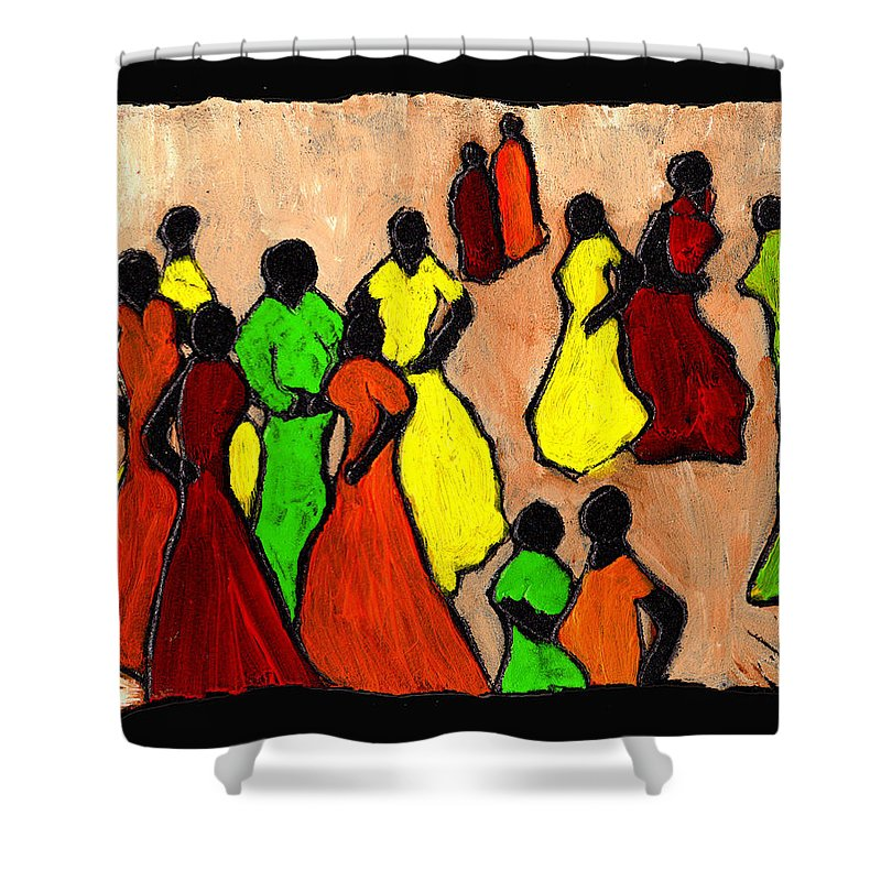 Women Shower Curtain featuring the painting The Gossips by Wayne Potrafka