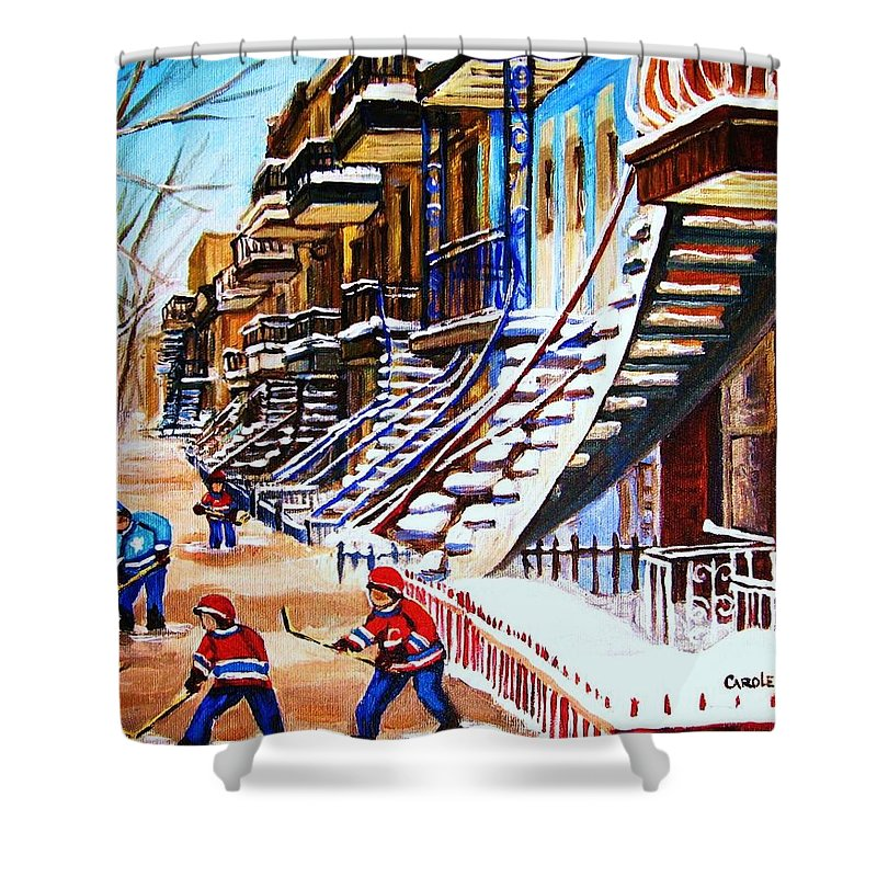 Hockey Shower Curtain featuring the painting The Gray Staircase by Carole Spandau