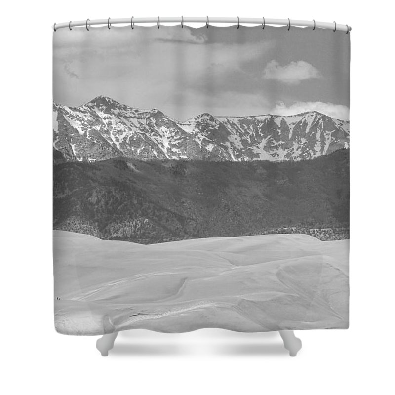 The Great Colorado Sand Dunes; Great Sand Dunes National Park And Preserve; Sand Dunes Black And White Prints; Sand Dunes Black And White Canvas Art; Colorado; Sand; Dunes; Nature Photography Prints;  Shower Curtain featuring the photograph The Great Colorado Sand Dunes by James BO Insogna