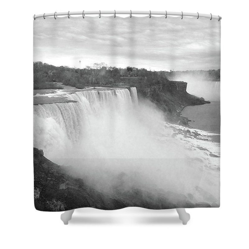 Landscape Shower Curtain featuring the photograph The Great Falls by Mike Fensterer