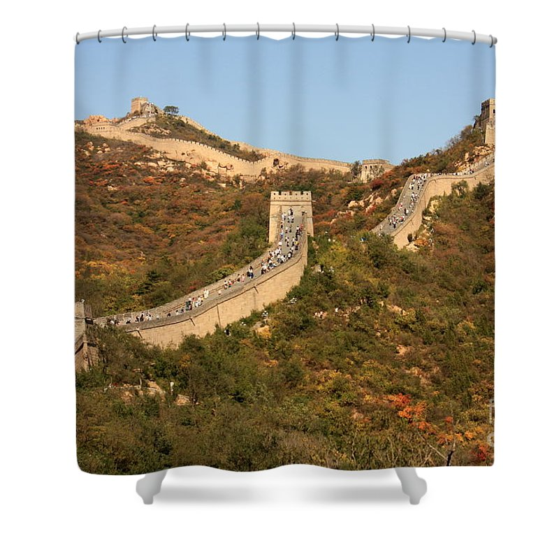 The Great Wall Of China Shower Curtain featuring the photograph The Great Wall On Beautiful Autumn Day by Carol Groenen