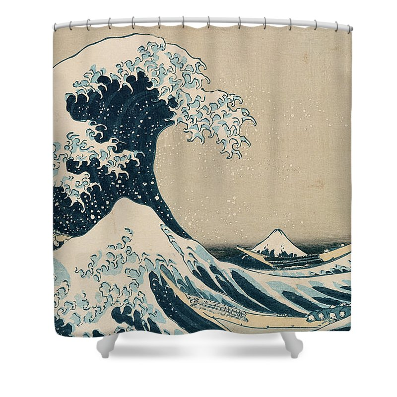 Wave Shower Curtain Featuring The Painting Great Of Kanagawa By Hokusai