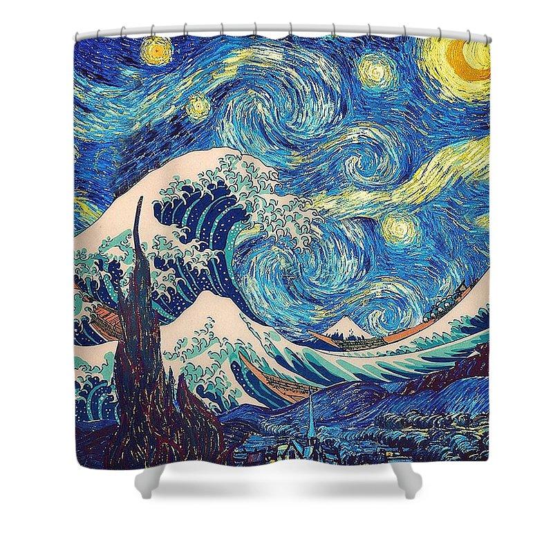 Katsushika Hokusai Shower Curtain Featuring The Painting Great Wave Off Kanagawa
