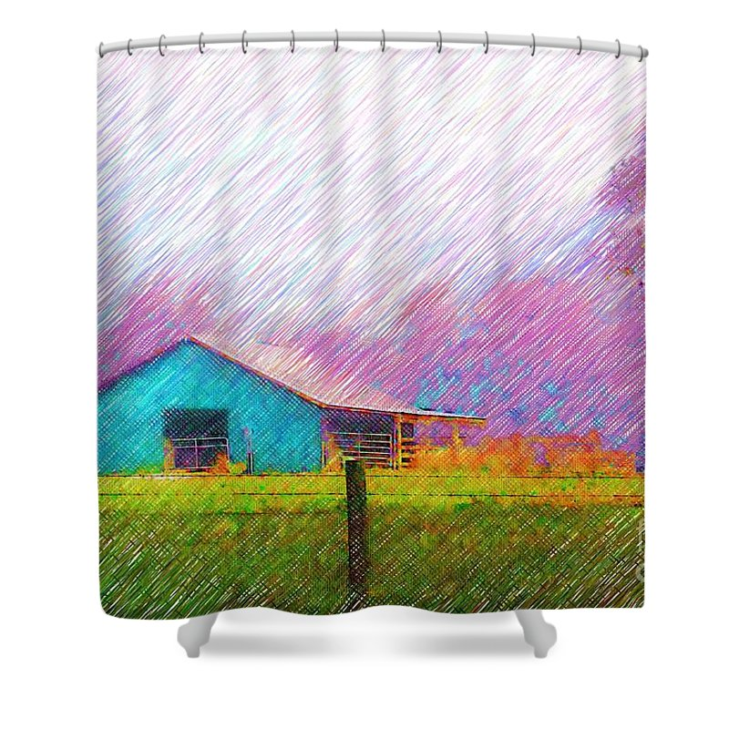Green Barn Shower Curtain featuring the photograph The Green Barn by Donna Bentley