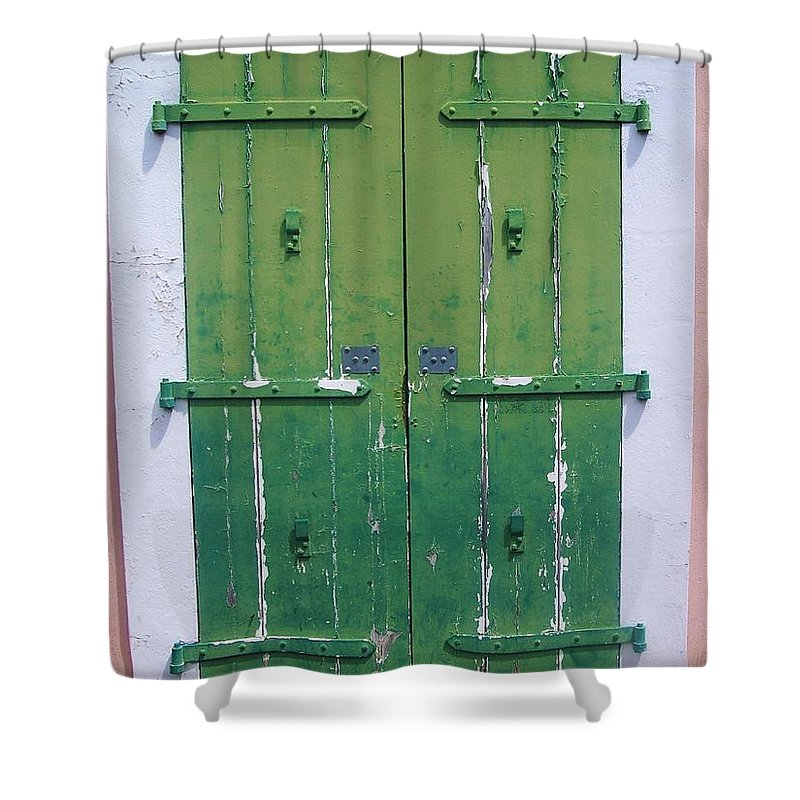 Architecture Shower Curtain featuring the photograph The Green Door by Debbi Granruth