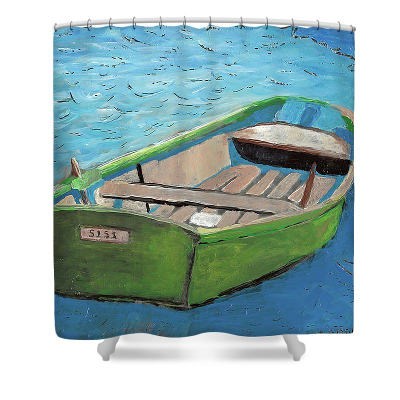 Rowboat Shower Curtain featuring the painting The Green Rowboat by William Bowers