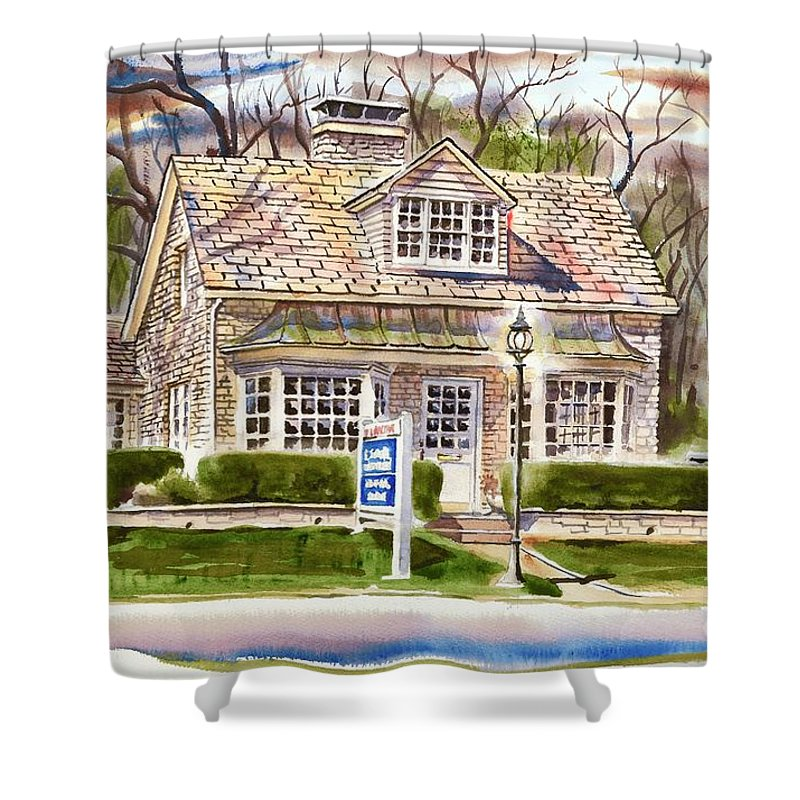 The Greystone Inn In Brigadoon Shower Curtain featuring the painting The Greystone Inn In Brigadoon by Kip DeVore