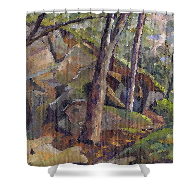Impressionism Shower Curtain featuring the painting The Grotto by Don Perino