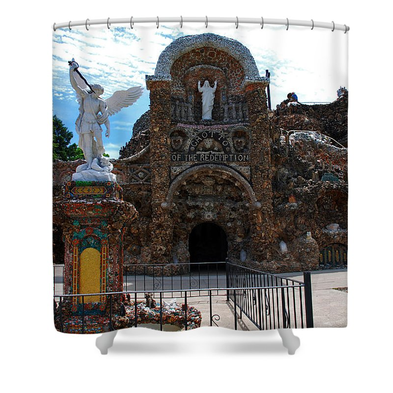 Entrance To The Grotto Of Redemption Shower Curtain featuring the photograph The Grotto Of Redemption In Iowa by Susanne Van Hulst