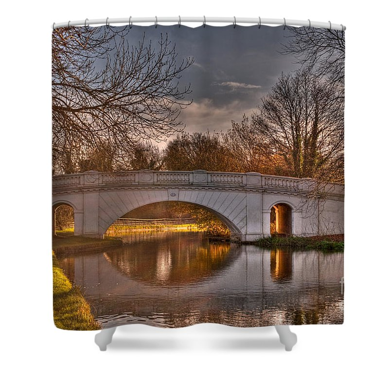 Bridge Shower Curtain featuring the photograph The Grove Bridge On The Grand Union Canal by Chris Thaxter
