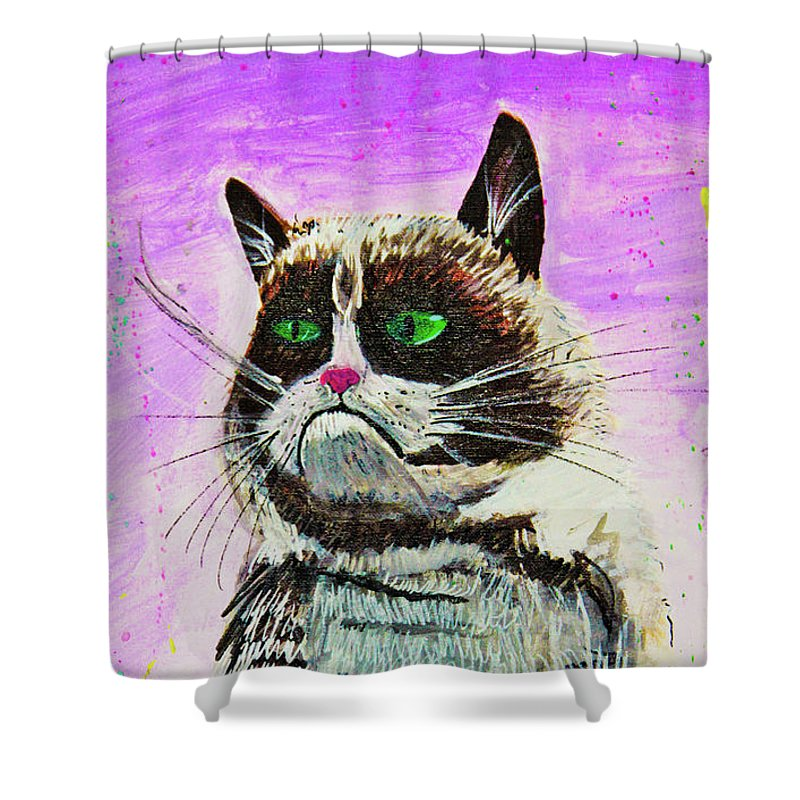 Grumpy Cat Shower Curtain featuring the painting The Grumpy Cat From The Internets by eVol i