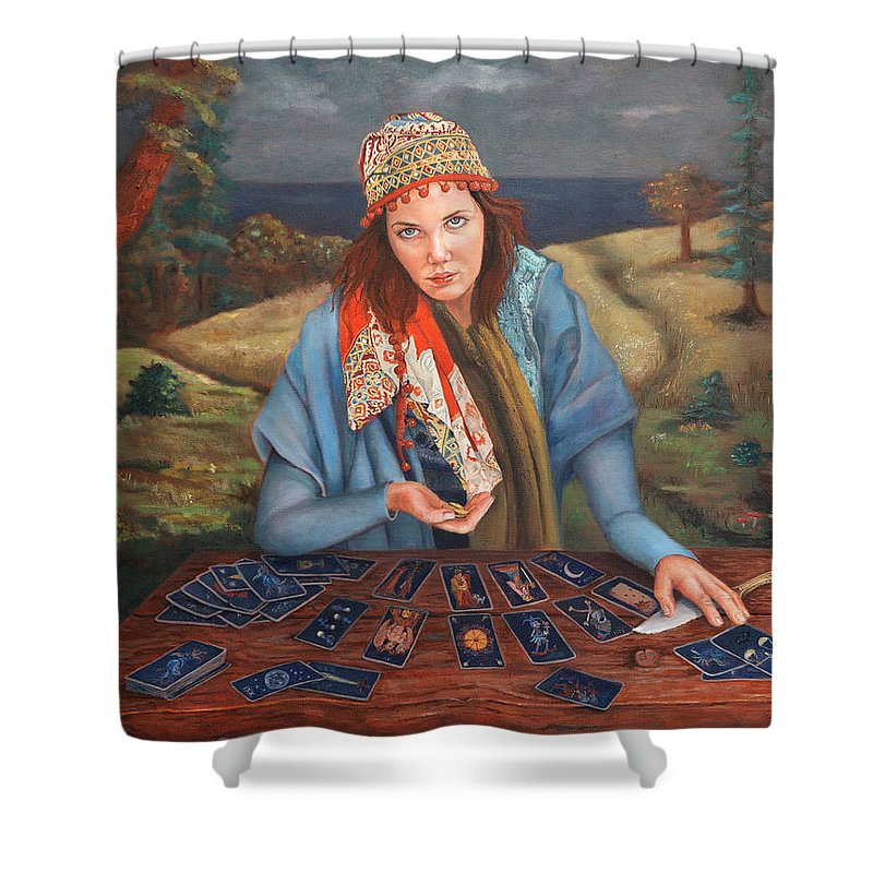 Figurative Art Shower Curtain featuring the painting The Gypsy Fortune Teller by Portraits By NC