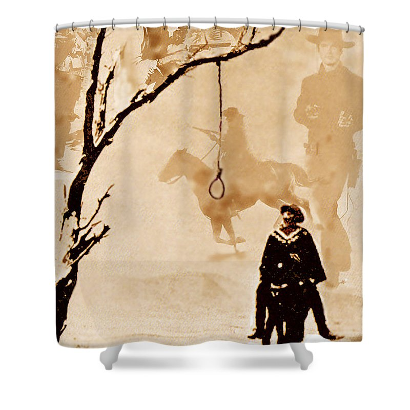Clint Eastwood Shower Curtain featuring the digital art The Hangman's Tree by Seth Weaver