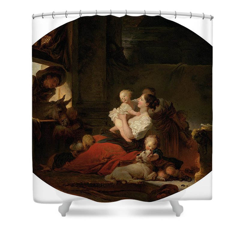 Jean-honore Fragonard Shower Curtain featuring the painting The Happy Family by Jean-Honore Fragonard