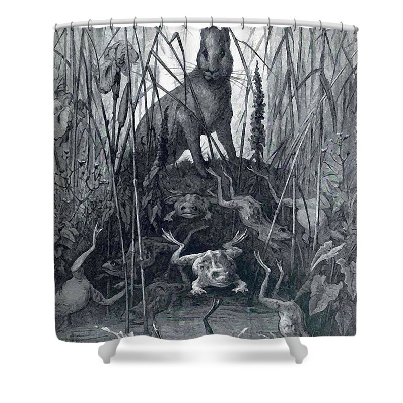 The Shower Curtain featuring the painting The Hare And The Frogs by Dore Gustave