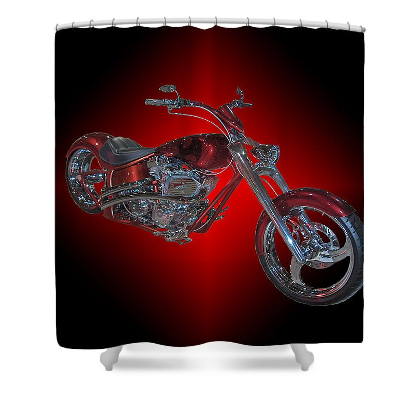 Harley Davidson Motorbike Chopper Bike Red Chrome Shower Curtain featuring the photograph The Harley by Andrea Lawrence