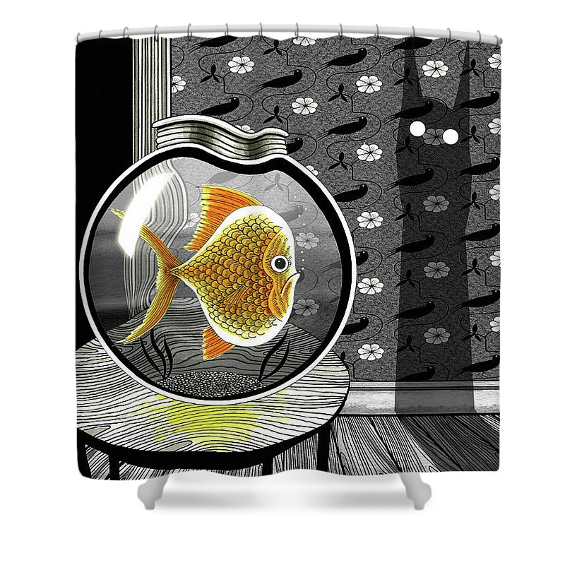 Goldfish Shower Curtain featuring the drawing The Haunted Goldfish Bowl by Andrew Hitchen