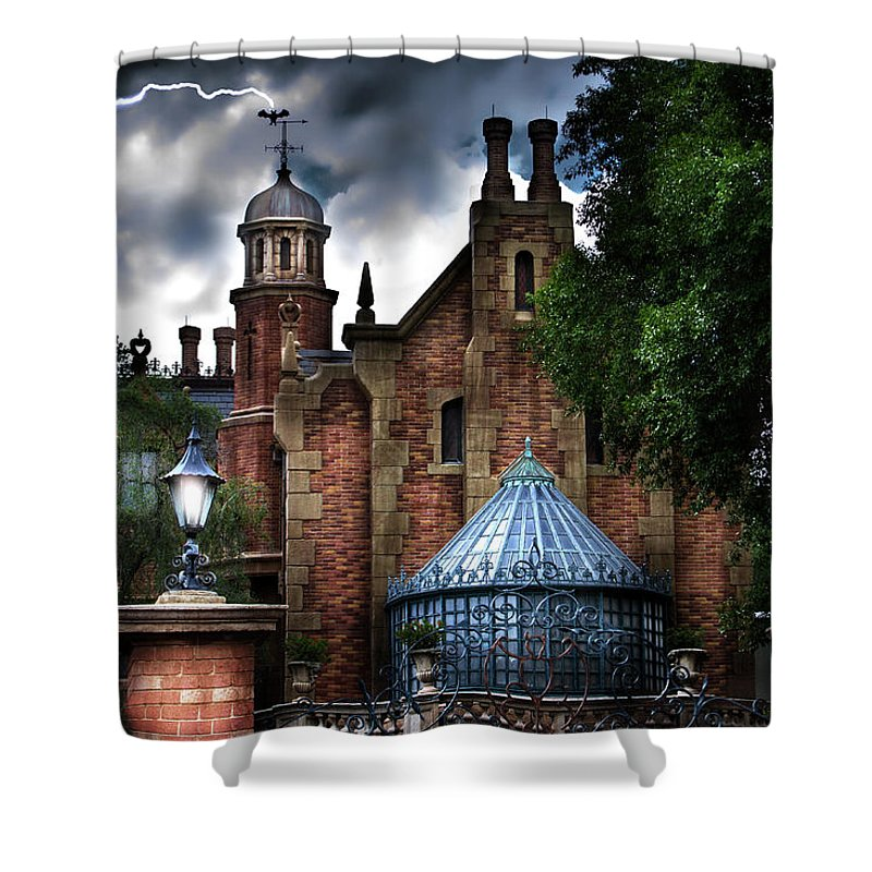Disney Shower Curtain Featuring The Photograph Haunted Mansion By Mark Andrew Thomas