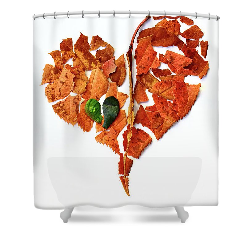 Broken Shower Curtain Featuring The Photograph Hearts By Masako Metz
