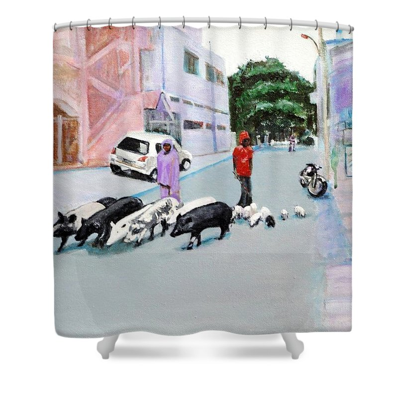 Pigs Shower Curtain featuring the painting The Herd 5 - Pigs by Usha Shantharam