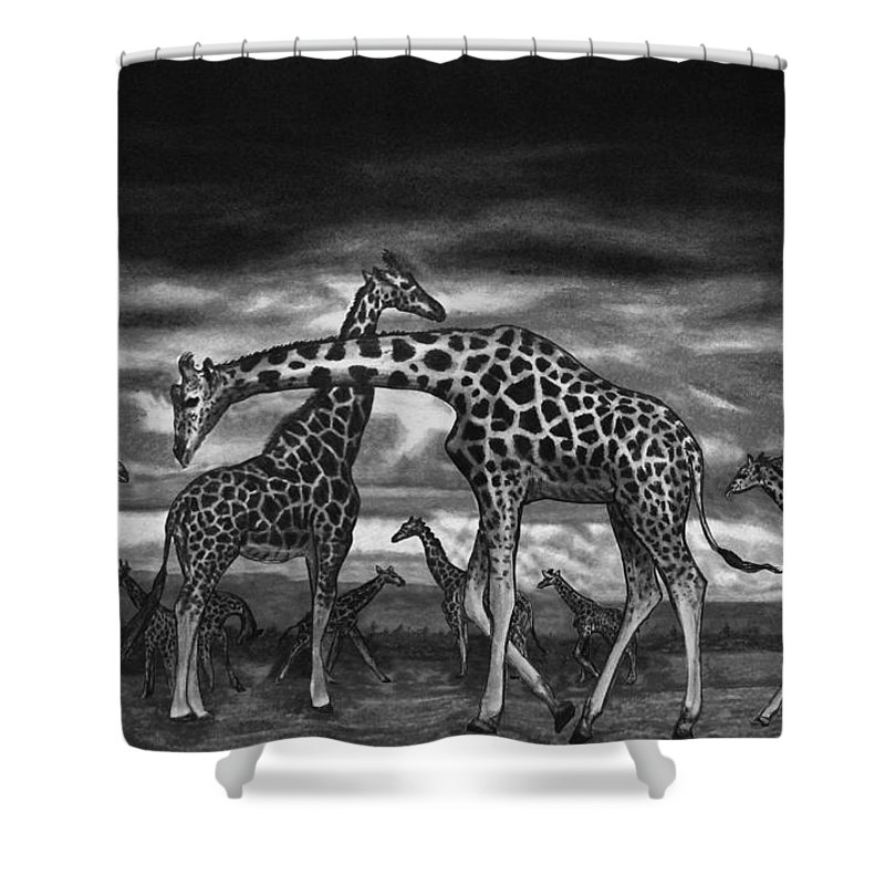 The Herd Shower Curtain featuring the drawing The Herd by Peter Piatt
