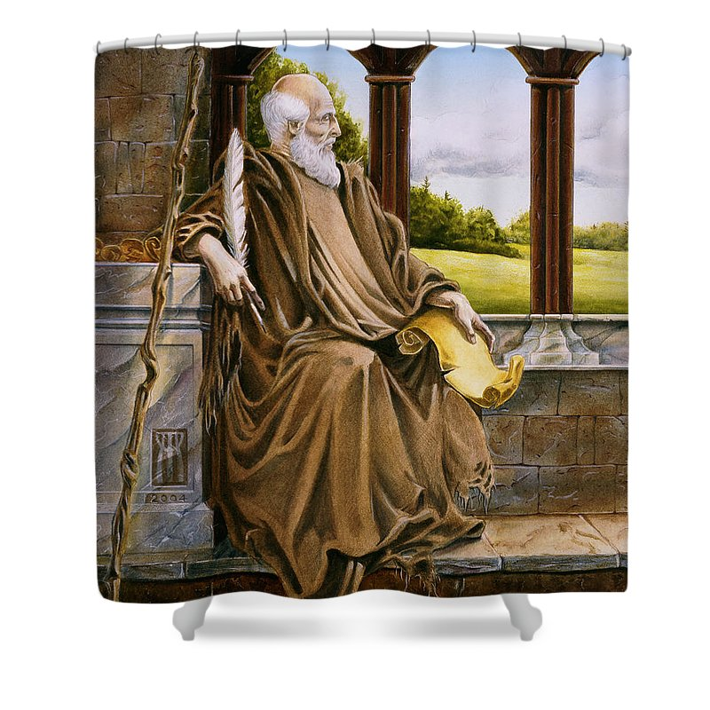 Wise Man Shower Curtain featuring the painting The Hermit Nascien by Melissa A Benson