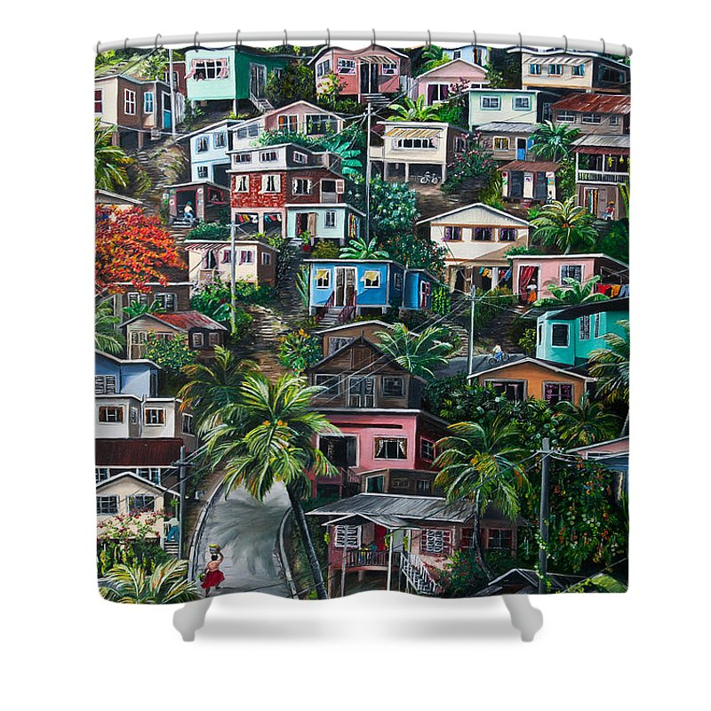 Landscape Painting Cityscape Painting Houses Painting Hill Painting Lavantille Port Of Spain Painting Trinidad And Tobago Painting Caribbean Painting Tropical Painting Caribbean Painting Original Painting Greeting Card Painting Shower Curtain featuring the painting The Hill   Trinidad by Karin Dawn Kelshall- Best