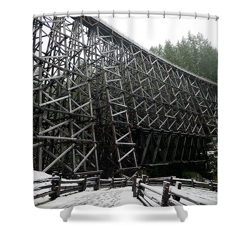Wood Shower Curtain featuring the photograph The Historic Kinsol Trestle 3. by Andrew Kim