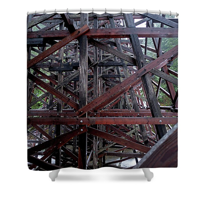 Wood Shower Curtain featuring the photograph The Historic Kinsol Trestle Inside View by Andrew Kim
