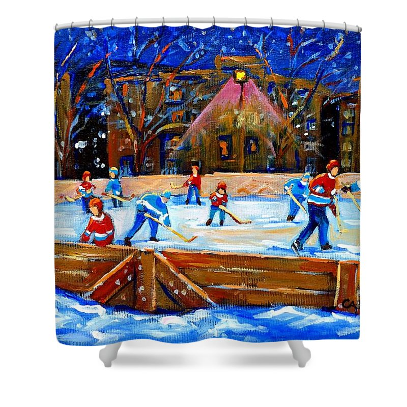 Snow Shower Curtain featuring the painting The Hockey Rink by Carole Spandau