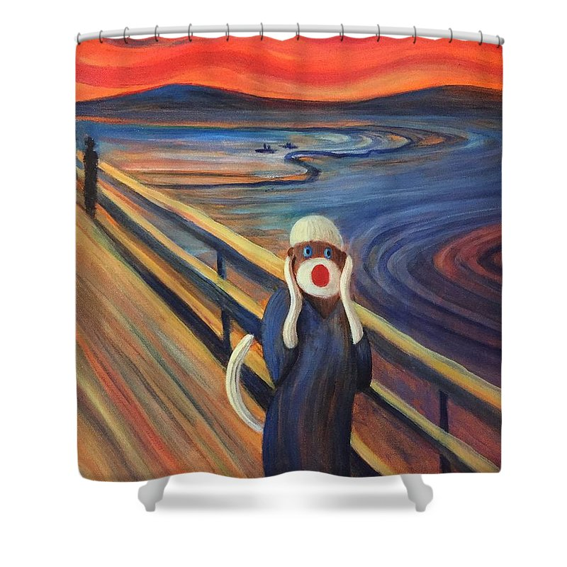 The Scream Shower Curtain featuring the painting The Holler by Randy Burns