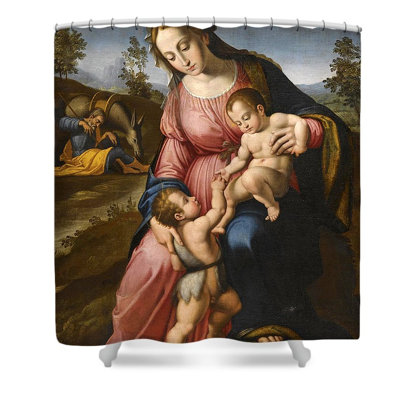 After Francesco Granacci Shower Curtain featuring the painting The Holy Family With The Infant Saint John The Baptist by After Francesco Granacci