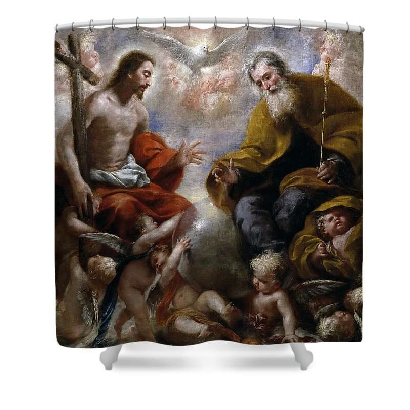 Attributed To Francisco Caro Shower Curtain Featuring The Painting Holy Trinity By