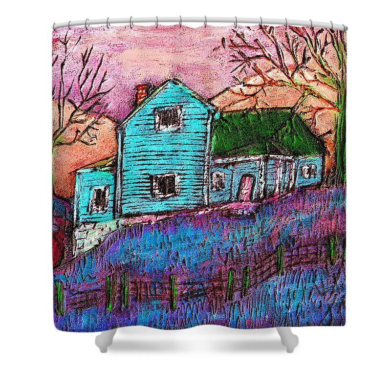 Farm Shower Curtain featuring the painting The Homestead I by Wayne Potrafka