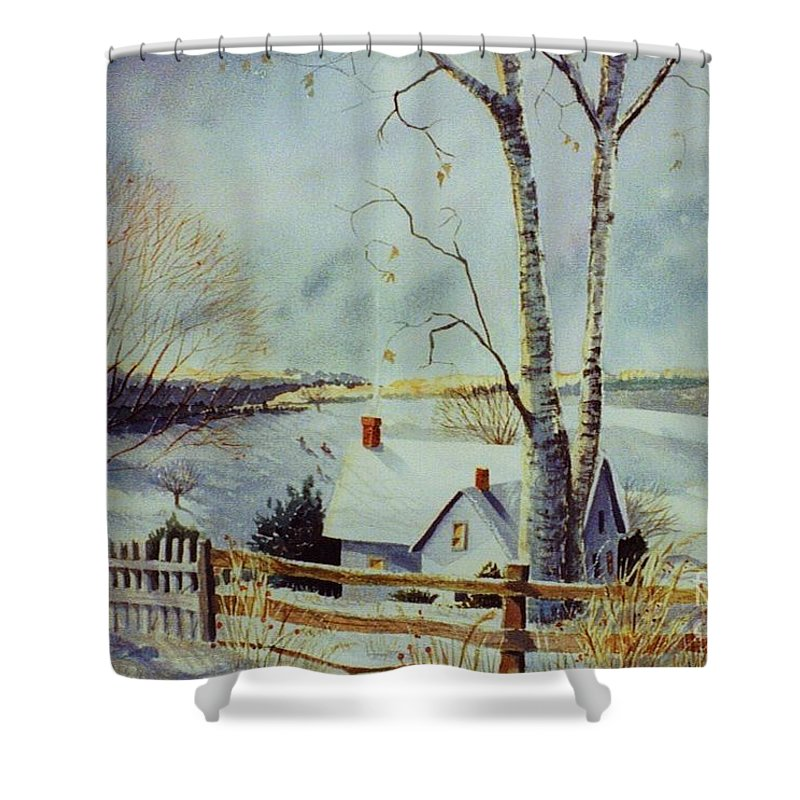 Winter Scene Shower Curtain featuring the painting The Homestead by Marilyn Smith