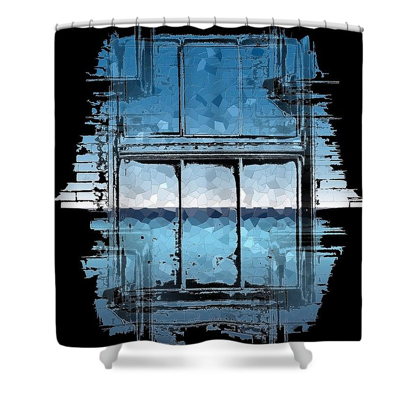 Abstract Shower Curtain featuring the digital art The Horizon Beyond by Tim Allen